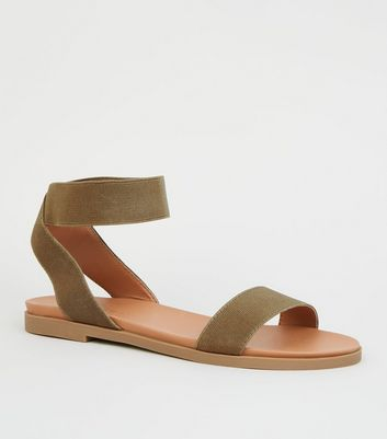 Wide Fit Khaki Elastic Ankle Strap Flat Sandals