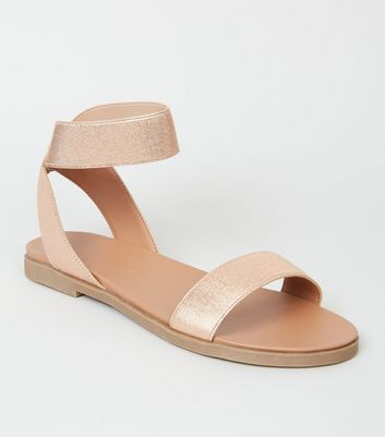 Wide Fit Rose Gold Elastic Ankle Strap Flat Sandals