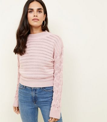 Cameo Rose Pale Pink Textured Sleeve Jumper