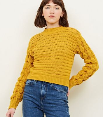 Cameo Rose Mustard Textured Sleeve Jumper