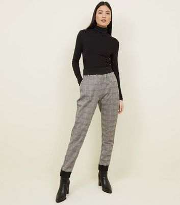 Cameo Rose Grey Check Cuffed Trousers