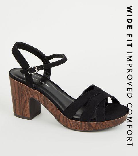 90fc0068779 ... Wide Fit Black Suedette Wood Heels ...
