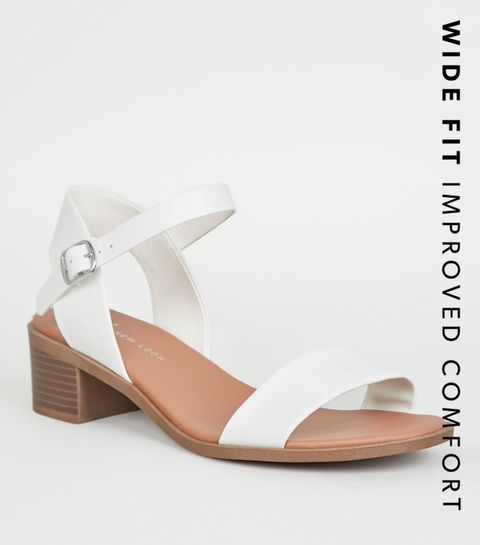 0a1ea682e91 ... Wide Fit White Leather-Look Footbed Sandals ...