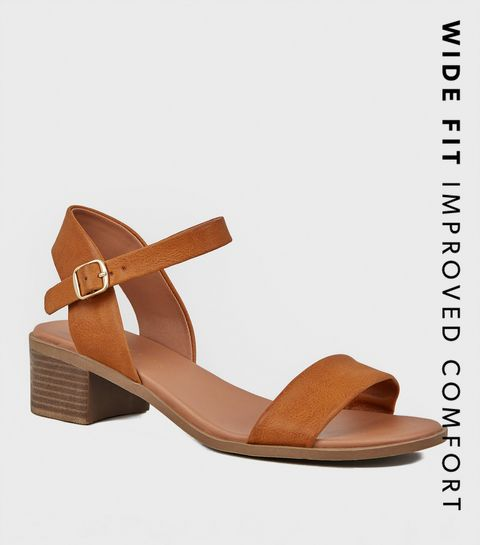 eed8064c5ef3 ... Wide Fit Tan Leather-Look Footbed Sandals ...