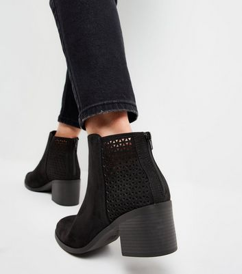 Wide Fit Black Cut Out Back Ankle Boots