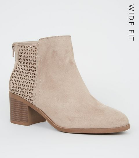 b3511d9493d ... Wide Fit Camel Cut Out Back Ankle Boots ...