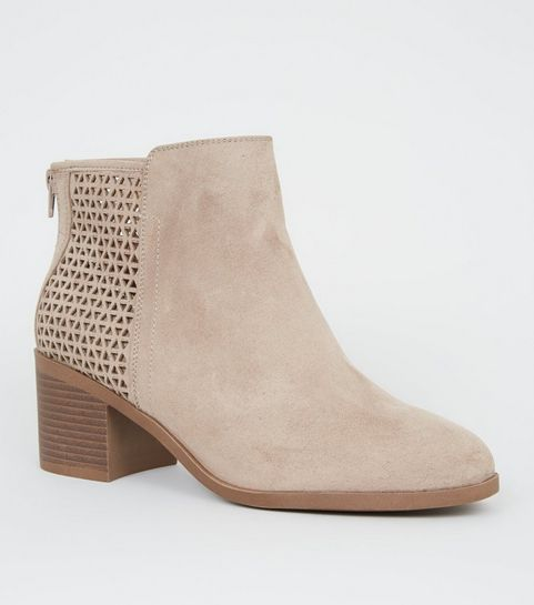 e80788eb8db ... Wide Fit Camel Cut Out Back Ankle Boots ...