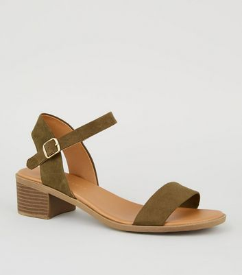 Wide Fit Khaki 2 Part Footbed Sandals by New Look