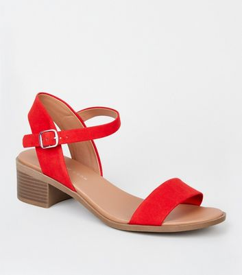 Wide Fit Red 2 Part Footbed Sandals