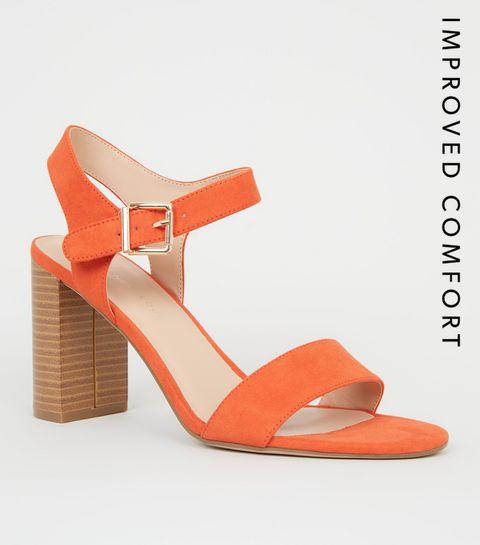 a7522f30c54 ... Wide Fit Orange Wood Effect Block Heel ...