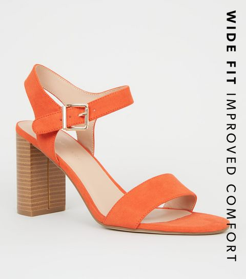 60ed51c0835d ... Wide Fit Orange Wood Effect Block Heel ...