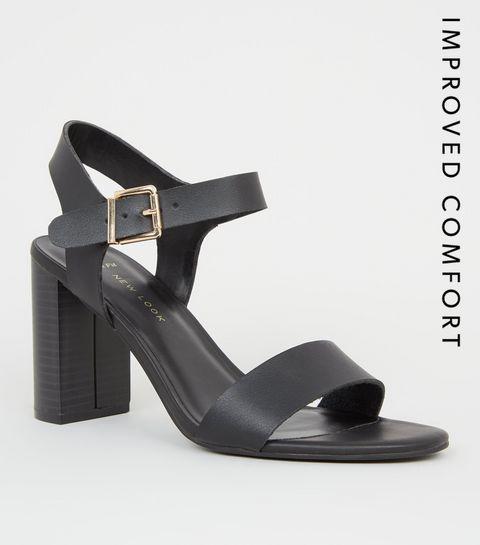 691151081fc7 ... Wide Fit Black Leather-Look 2 Part Block Heels ...