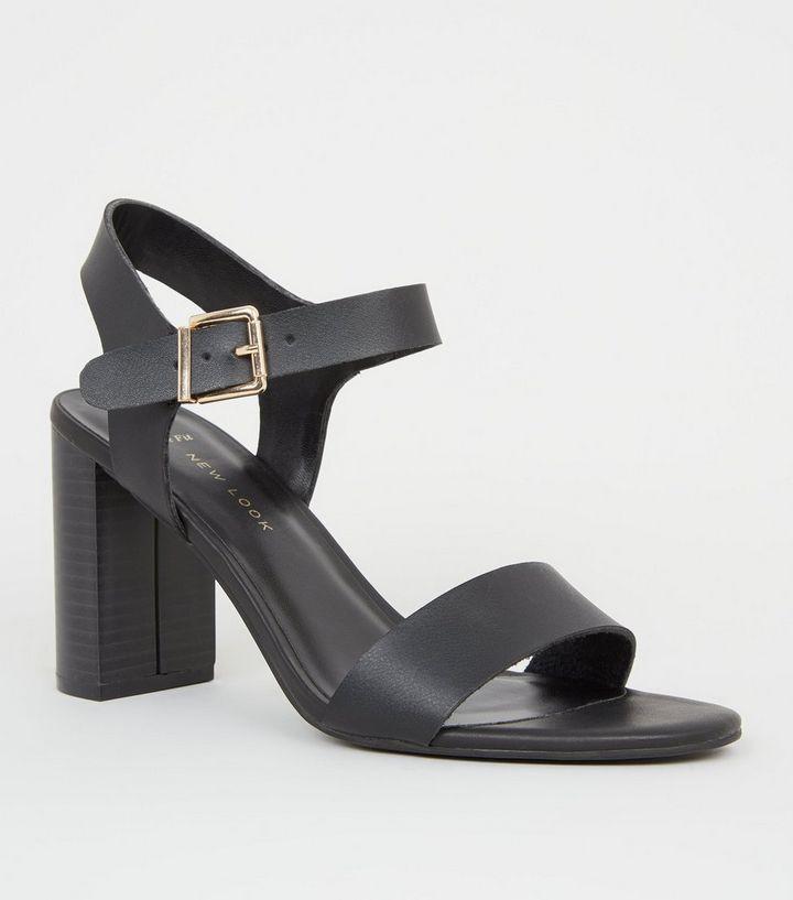 1be613eda9 Wide Fit Black Leather-Look 2 Part Block Heels   New Look