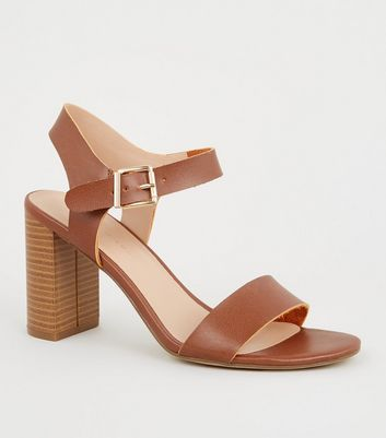 Wide Fit Tan Leather-Look 2 Part Block Heels