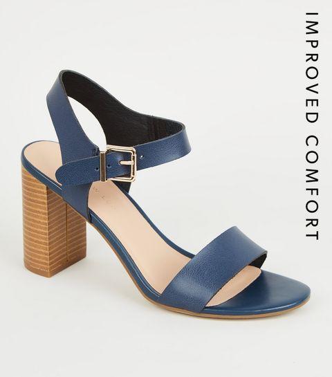 8b3bccce631cfa ... Wide Fit - Chaussures en cuir synthétique bleu marine à talons blocs et  deux parties ...