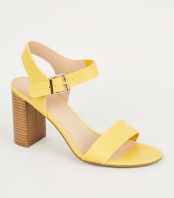 Wide Fit Yellow Leather-Look 2 Part Block Heels
