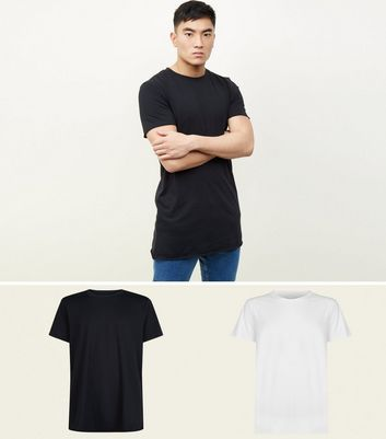 2 Pack Black and White Longline Raw Hem T-Shirts