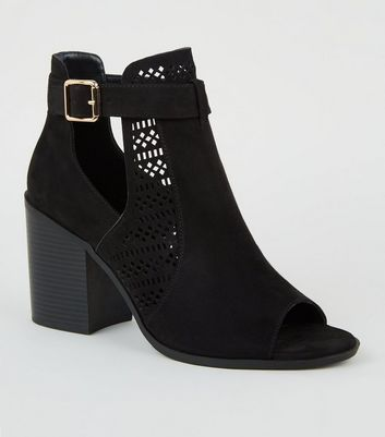 Wide Fit Black Suedette Cut Out Block Heels