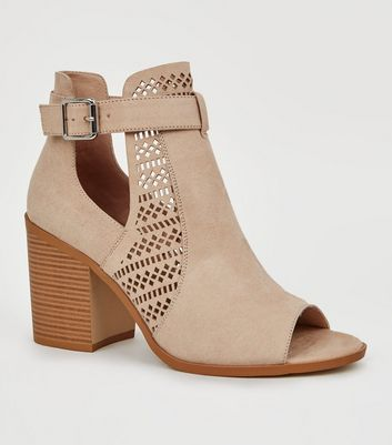 Wide Fit Nude Suedette Cut Out Block Heels