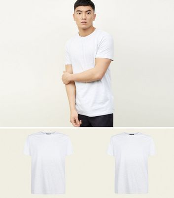2 Pack Pale Grey Marl Crew Neck T-Shirts