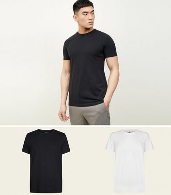 2 Pack Black and White Crew Neck T-Shirt