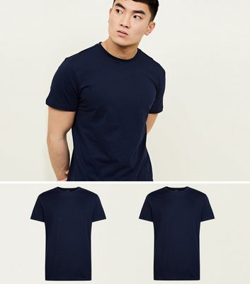 2 Pack Navy Blue Crew Neck T-Shirt