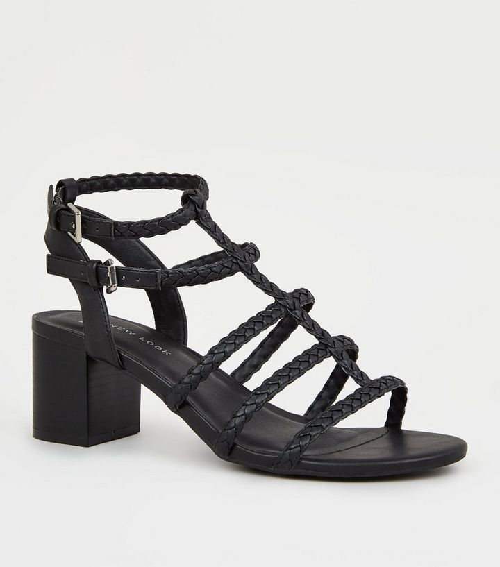 8af5463c9 Wide Fit Black Plait Strap Gladiator Sandals