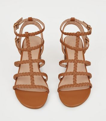 1b2a68263a9 Wide Fit Tan Plait Strap Gladiator Sandals New Look