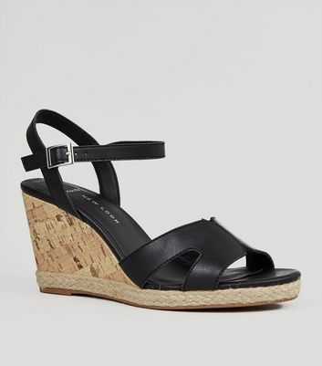 Wide Fit Black Cork Effect Wedge Sandals