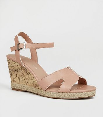 Wide Fit Nude Cork Effect Wedge Sandals