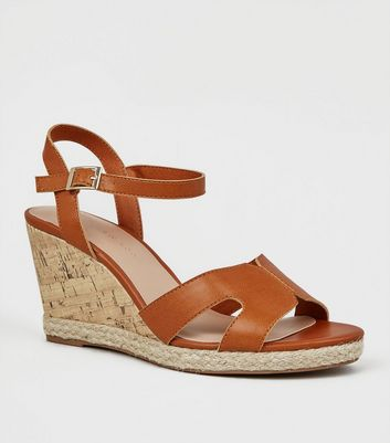 Wide Fit Tan Cork Effect Wedge Sandals