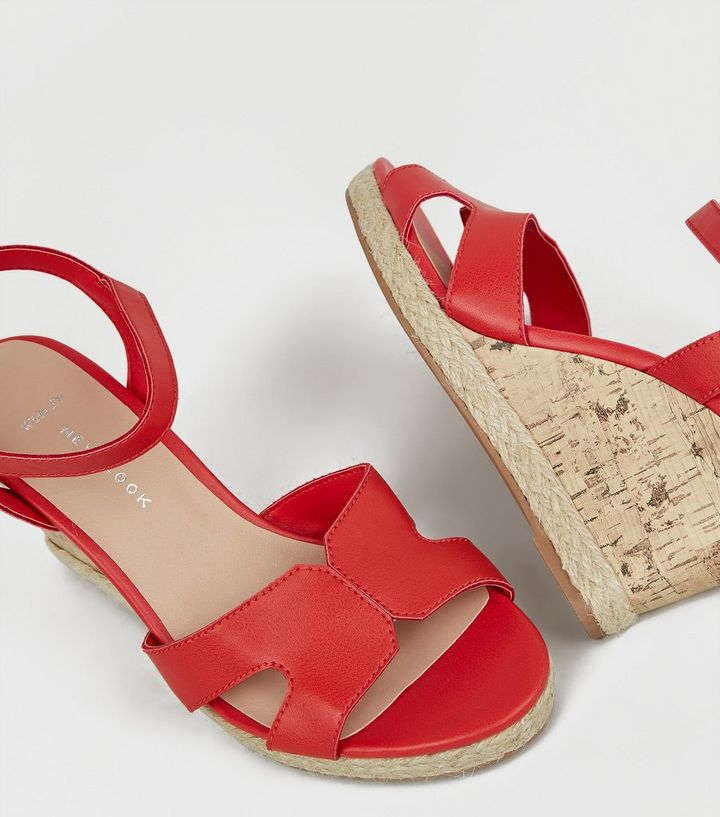 New Look Wide Fit Red Cork Effect Wedge Sandals
