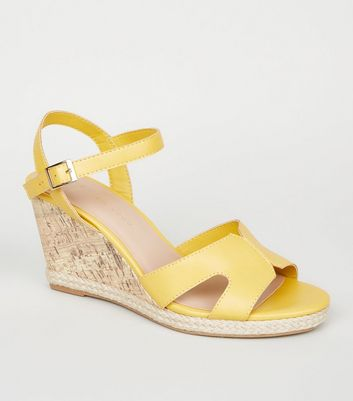 Wide Fit Yellow Cork Effect Wedge Sandals
