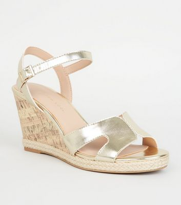 Wide Fit Gold Cork Effect Wedge Sandals