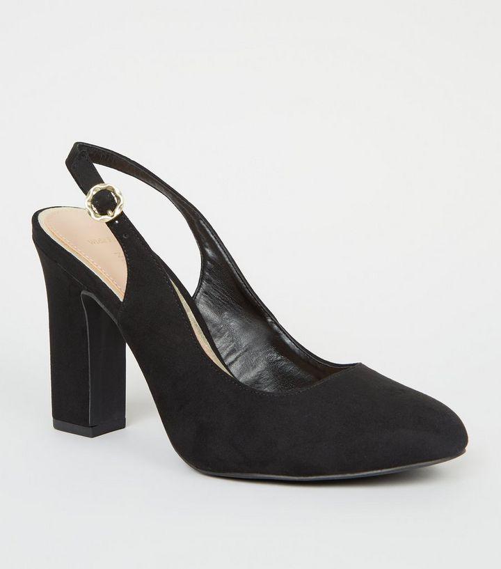 9dee56eeb19c Wide Fit Black Suedette Slingback Heels