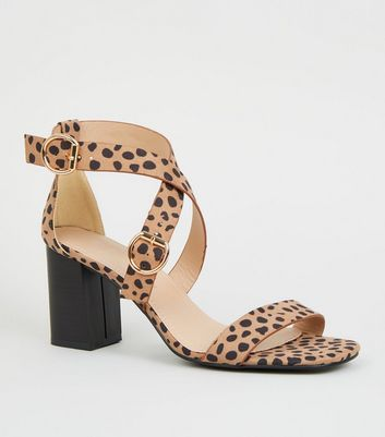 Wide Fit Brown Animal Print Strappy Sandals