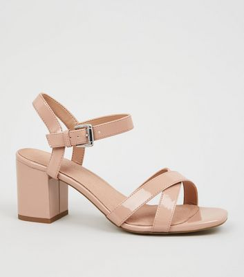 Nude Patent Cross Strap 2 Part Block Heels