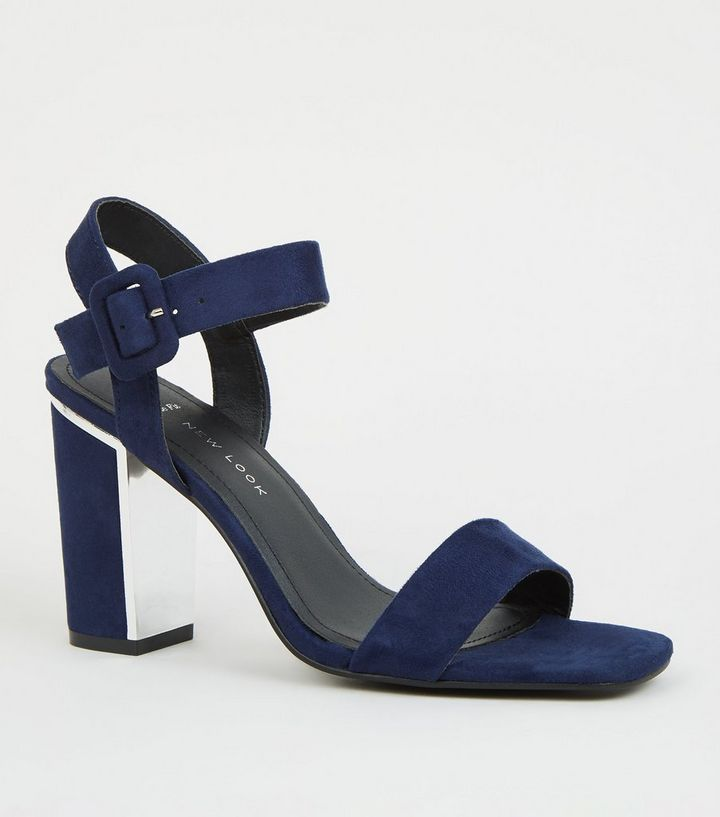760d34521cd Wide Fit Navy Suedette Metal Heel Sandals
