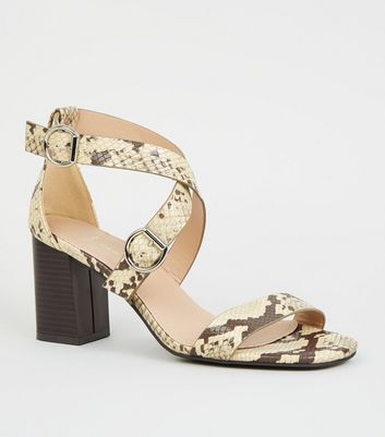 Wide Fit Stone Faux Snake Strappy Block Heels by New Look