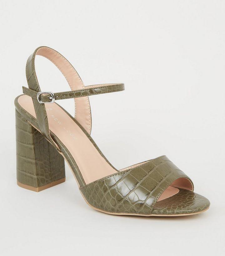 fc84653443c5 Wide Fit Khaki Faux Croc Block Heels