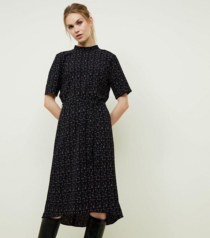 5693ab7bafbdf JDY Black Spot Print High Neck Midi Dress | New Look
