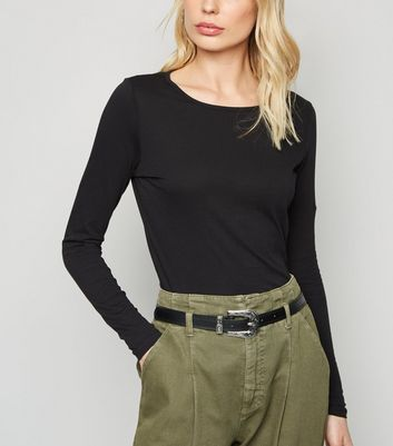 shop for Black Crew Neck Long Sleeve Top New Look at Shopo