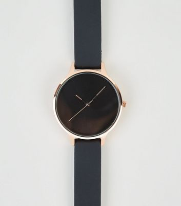 Black Silicone Strap Rose Gold Watch