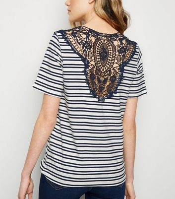 JDY Navy Stripe Crochet Back Top