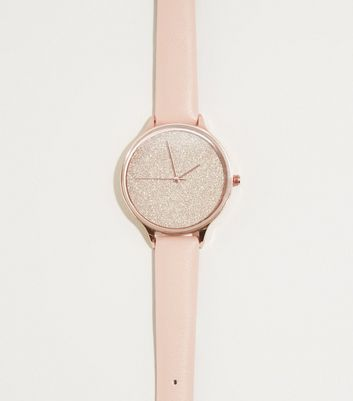 Pale Pink Glitter Face Watch