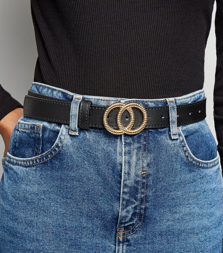 1073721ac15 Black Embossed Double Circle Buckle Belt | New Look