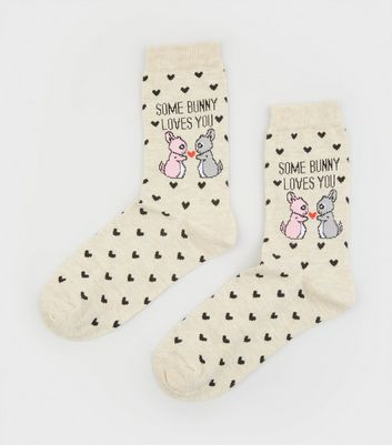 Cream Some Bunny Loves Your Slogan Socks