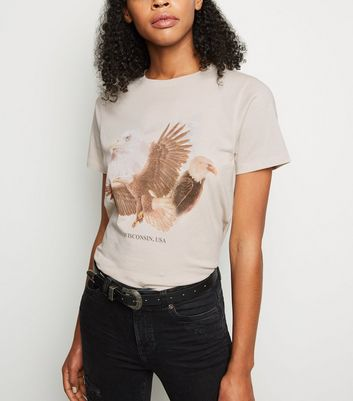 Cream Wisconsin Eagle Print Rock T-Shirt