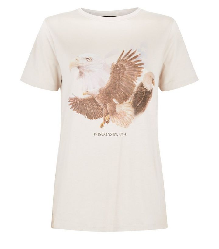 08b5ab30 Cream Wisconsin Eagle Print Rock T-Shirt | New Look