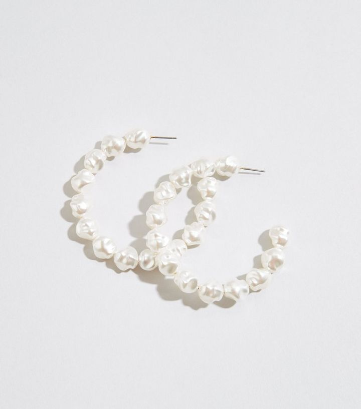3f987d36927f0 Cream Faux Pearl Hoop Earrings Add to Saved Items Remove from Saved Items